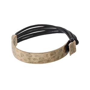Brown genuine leather cord bracelet with a hammered gold tone side and a hook closure.