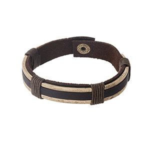 """Brown faux leather and gold tone snap bracelet. Approximately 1/2"""" in width."""
