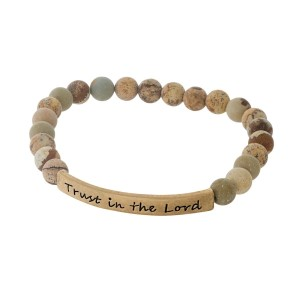 """Picture jasper natural stone beaded stretch bracelet with a gold tone bar, stamped with """"Trust in the Lord."""""""