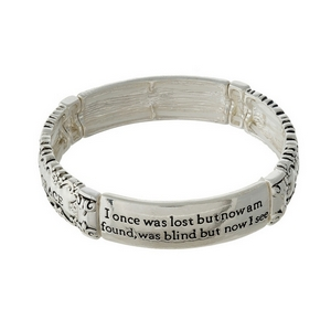 Silver tone stretch bracelet stamped with Amazing Grace.