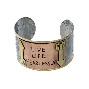 "Hammered two tone cuff bracelet stamped with ""Live Life Fearlessly."""