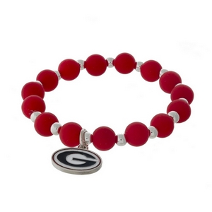 Officially licensed University of Georgia, silver tone beaded stretch bracelet.