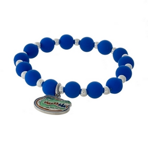 Officially licensed University of Florida, silver tone beaded stretch bracelet.