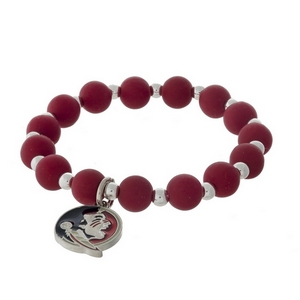 Officially licensed Florida State University, silver tone beaded stretch bracelet.