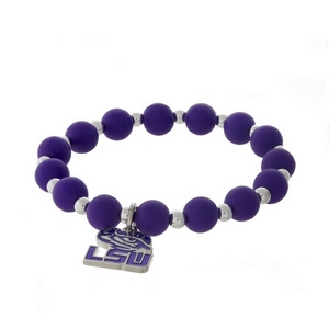 Officially licensed LSU, silver tone beaded stretch bracelet