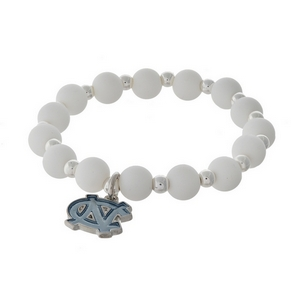 Officially licensed University of North Carolina, silver tone beaded stretch bracelet.