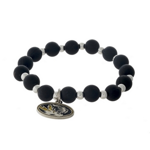 Officially licensed University of Missouri, silver tone beaded stretch bracelet.