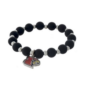 Officially licensed University of Louisville, silver tone beaded stretch bracelet.