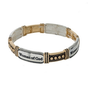"Two tone stretch bracelet stamped with ""Woman of God."""
