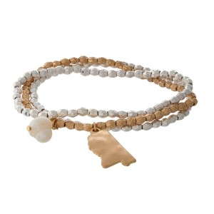 Two tone stretch bracelet with a state of Mississippi and freshwater pearl bead charm.