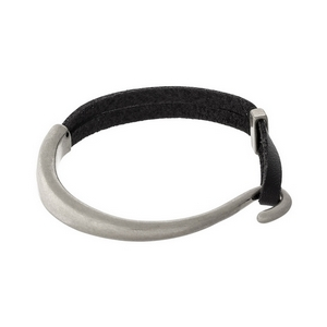 Black leather and silver tone bracelet with a hook closure.