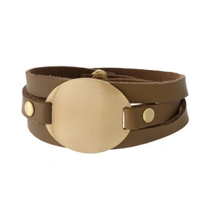 Tan faux leather wrap bracelet featuring a brushed gold tone focal.
