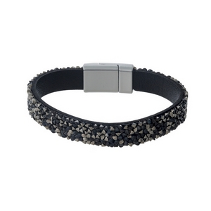Black faux leather bracelet featuring black and gray chip stones and a magnetic closure.
