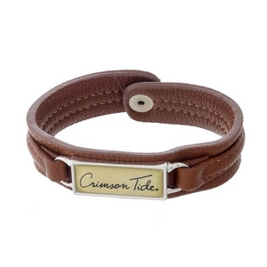 """Officially licensed, University of Alabama brown faux leather snap bracelet with a silver tone bar saying """"Crimson Tide."""""""