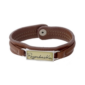 """Officially licensed, University of Arkansas brown faux leather snap bracelet with a silver tone bar saying """"Razorbacks."""""""