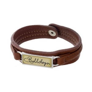 "Officially licensed, University of Georgia brown faux leather snap bracelet with a silver tone bar saying ""Bulldogs."""