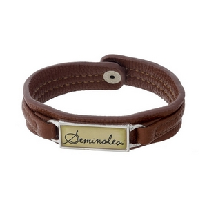 """Officially licensed, Florida State University brown faux leather snap bracelet with a silver tone bar saying """"Seminoles."""""""