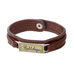 """Officially licensed, Mississippi State University brown faux leather snap bracelet with a silver tone bar saying """"Bulldogs."""""""