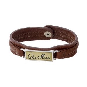 """Officially licensed, Ole Miss brown faux leather snap bracelet with a silver tone bar saying """"Ole Miss."""""""