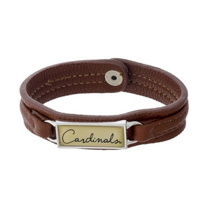 "Officially licensed, University of Louisville brown faux leather snap bracelet with a silver tone bar saying ""Cardinals."""