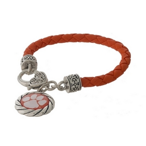 Officially licensed, Clemson University faux leather bracelet with a silver tone clasp and a logo charm.