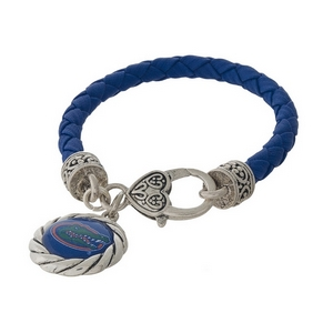 Officially licensed, University of Florida faux leather bracelet with a silver tone clasp and a logo charm.