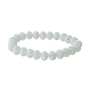 White iridescent beaded stretch bracelet.
