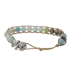 Tan cord bracelet featuring amazonite natural stone beads and a silver tone elephant toggle closure.