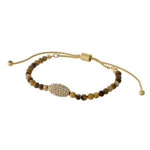Picture jasper beaded pull-tie bracelet with a gold tone and clear rhinestone pave focal.