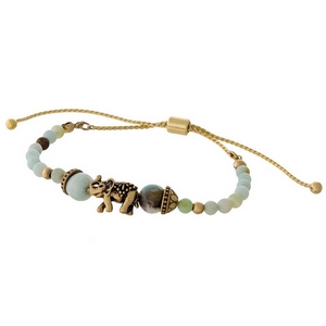Amazonite beaded pull-tie bracelet with a gold tone elephant focal.