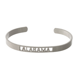 Silver tone cuff bracelet with an Alabama cutout.