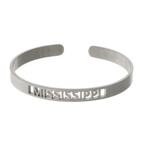 Silver tone cuff bracelet with a Mississippi cutout.