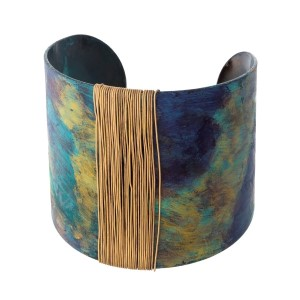 """Teal and blue varnished cuff bracelet with gold tone wire wrapping detail. Approximately 2"""" in width."""