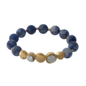 Sodalite beaded stretch bracelet with faux druzy stones and gold tone accents.