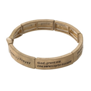 Gold tone stretch bracelet stamped with the Serenity Prayer.