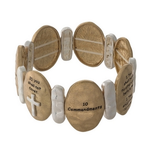 Gold with silver tone stretch bracelet stamped with the Ten Commandments.