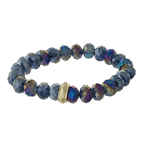 Iridescent blue beaded stretch bracelet with a gold tone accent.