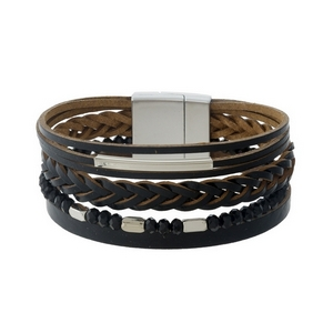 Black faux leather magnetic bracelet with silver tone accents.