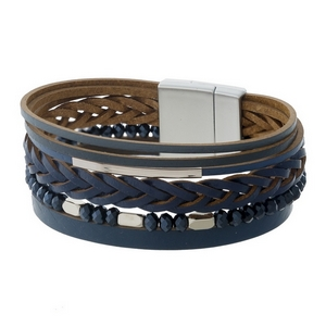 Navy blue faux leather magnetic bracelet with silver tone accents.