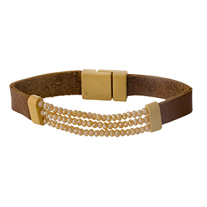 Genuine leather stretch bracelet with a magnetic clasp and brown beads.
