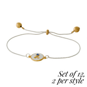 """This bracelet set comes with twelve cancer awareness bracelets, two each of six styles. Each bracelet is two tone with a pull tie closure and comes carded. Cancers include: Childhood cancer, Melanoma, Pancreatic cancer, Leukemia, Breast cancer, and an """"all cancer."""""""