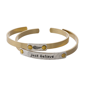 """Two tone, two piece cuff bracelet set stamped with """"Believe."""""""