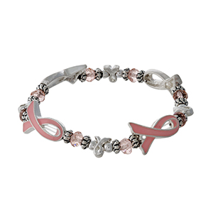 Silver tone, pink ribbon Breast Cancer Awareness stretch bracelet.