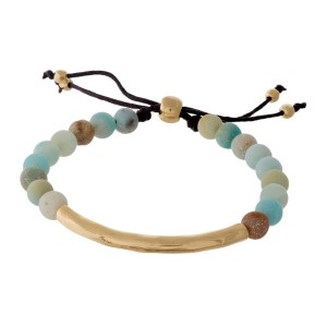 Amazonite, natural stone beaded pull-tie bracelet with a hammered gold tone bar.