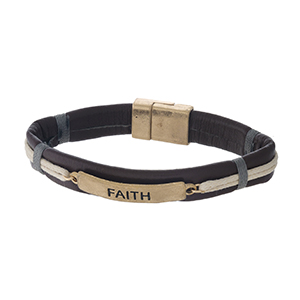"""Faux leather magnetic bracelet with a gold tone bar stamped with """"Faith."""""""