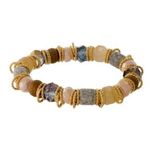 Gray and ivory natural stone beaded stretch bracelet with gold tone, twisted accents.