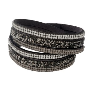 Gray, faux suede wrap bracelet with clear rhinestone accents and a two-snap closure.
