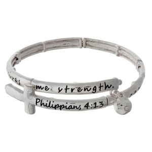 Silver tone, open coil, cross bracelet stamped with Philippians 4:13.