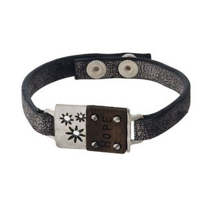 """Faux leather snap bracelet with a bar and wooden focal stamped with """"Hope."""""""