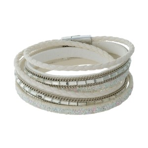 Faux leather wrap bracelet with clear rhinestones and a silver tone magnetic closure.